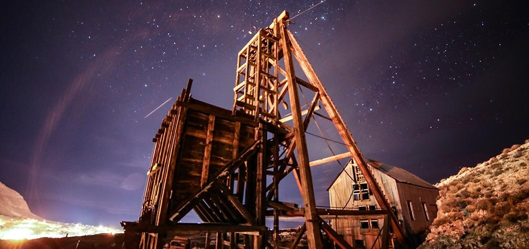 Old mine and a starry night sky