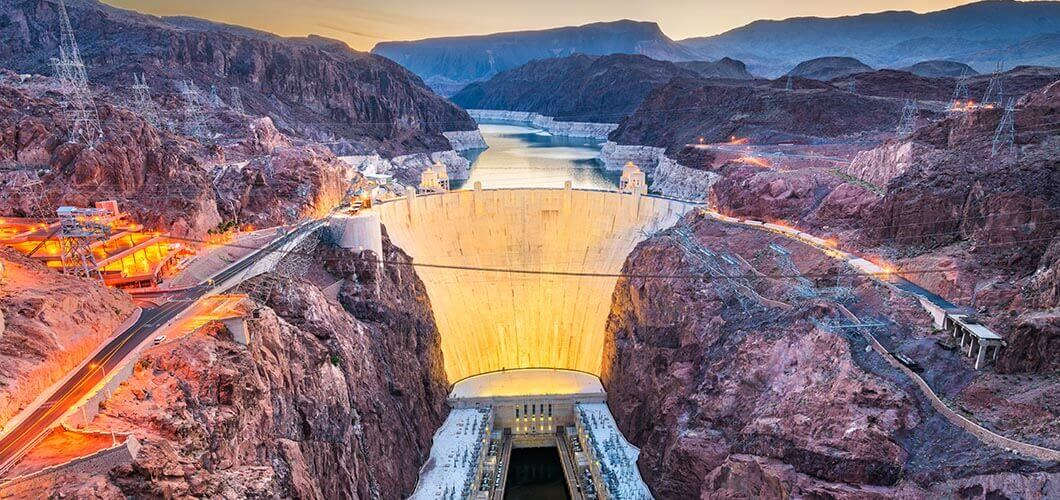 Hoover dam during sunset